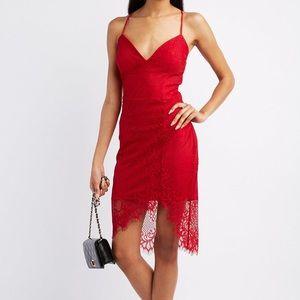 Red Lace Asymmetrical Bodycon Dress